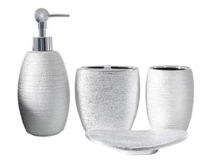 Набор аксессуаров для ванной комнаты «Камилла», 4 предмета (мыльница, дозатор для мыла 480 мл, 2 стакана), цвет серебро