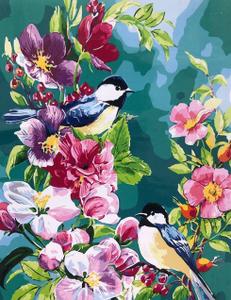 "Картина по номерам на холсте 40х50 ""Птички на ветке"""