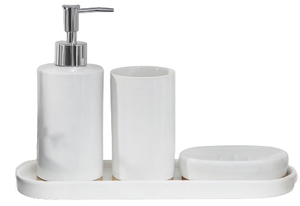 Набор аксессуаров для ванной комнаты Доляна «Гармония», 4 предмета (дозатор 350 мл, мыльница, стакан, подставка)