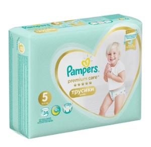 Подгузники-трусики Premium Care Pants Junior (12-17 кг) Упаковка 34 PAMPERS