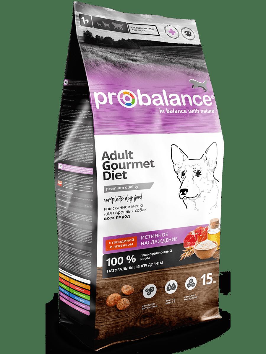 """Сухой корм для собак ProBalance """"Gourmet Diet"""" с говядиной и ягнёнком 15 кг"""