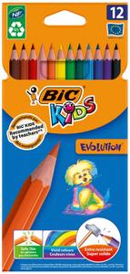 """Карандаши цветные пластиковые Bic """"Evolution 93"""", 12цв., заточен., картон, европодвес"""