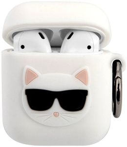 Чехол Lagerfeld для Airpods Silicone case with ring Choupette White