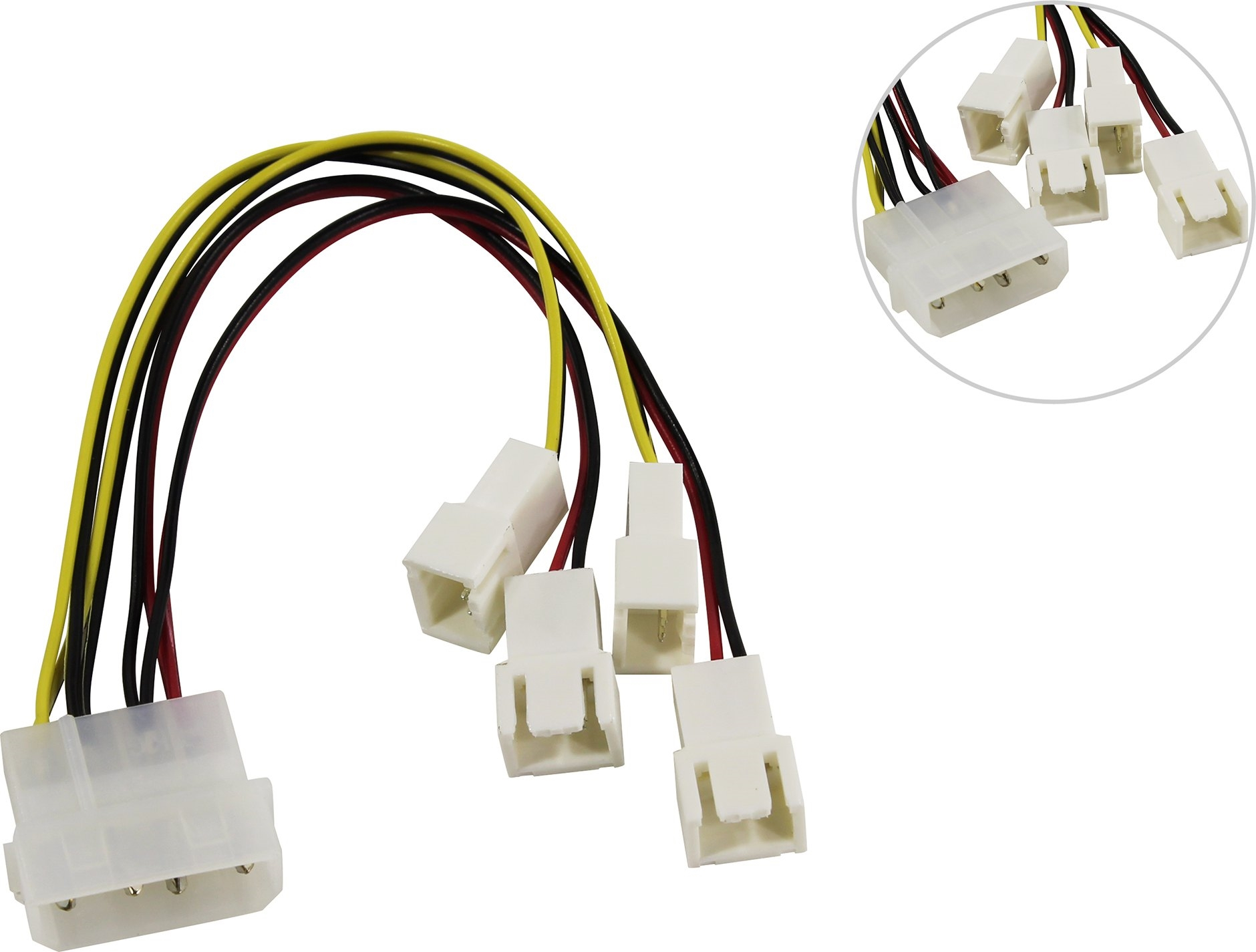 Переходник питания для вентилятора 1big->4x3pin Akasa <AK-CB001>