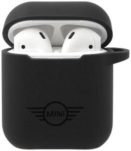 Чехол MINI liquid silicone printed logo для AirPods, черный