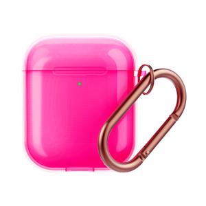 Чехол силиконовый Deppa Neon для AirPods 1/2, карабин (Розовый)