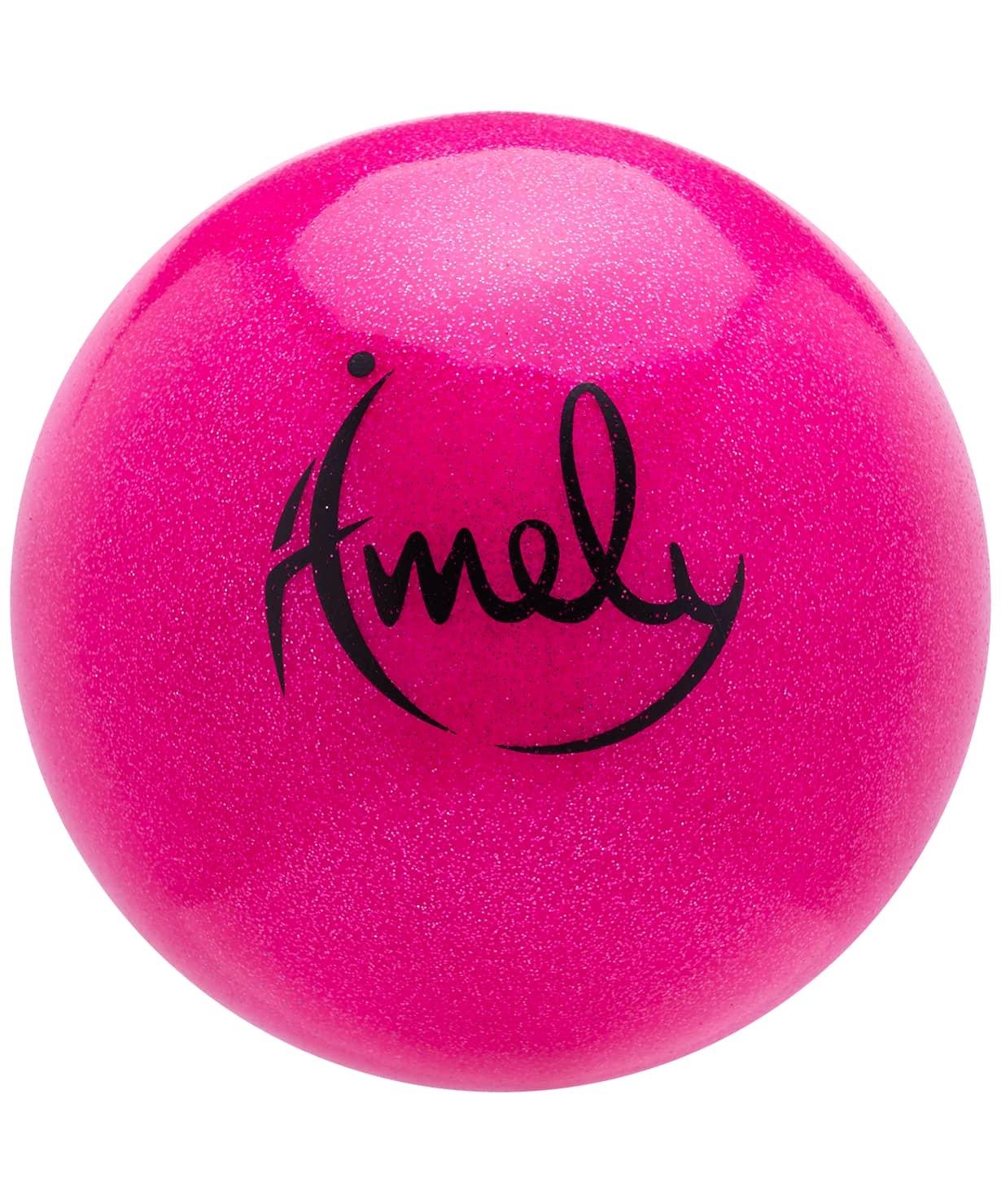 Мяч для художественной гимнастики AGB-303 15 см, розовый, с насыщенными блестками