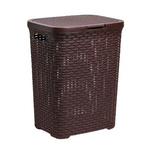 Корзина для белья с крышкой Виолет «Ротанг», 40 л, 30×38×48 см, цвет коричневый