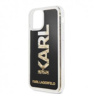 Чехол Lagerfeld для iPhone 11 Liquid glitter Karl logo Hard Black/Gold