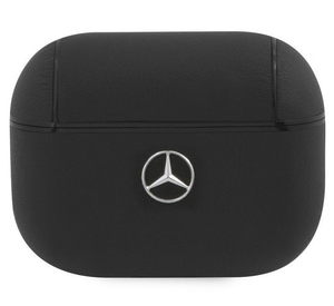Чехол Mercedes для Airpods Pro Genuine leather with metal logo Black