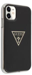 Чехол Guess для iPhone 11 Metallc effect Triangle logo Hard PC/TPU Black