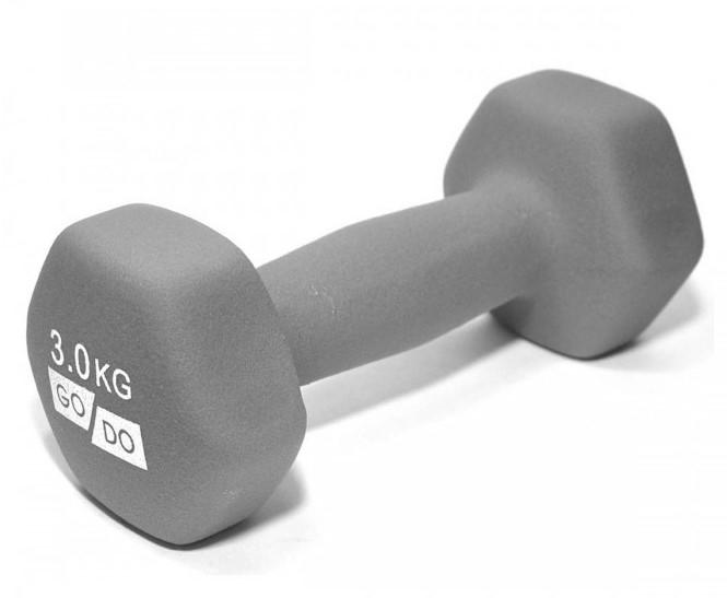 Гантель GO DO в виниловой матовой (неопреновой) оболочке.  Вес 3 кг. (Серый)