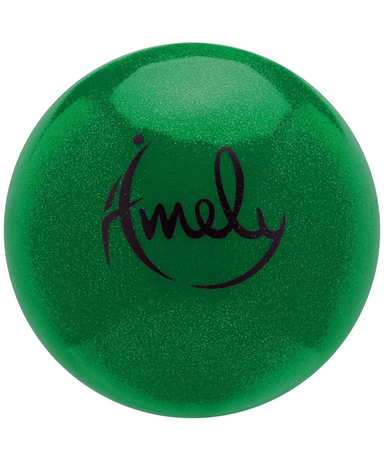 Мяч для художественной гимнастики AGB-303 19 см, зеленый, с насыщенными блестками