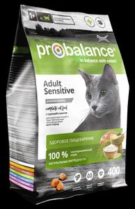 Сухой корм ProBalance Adult Sensitive для взрослых кошек с чувствительным пищеварением с курицей и рисом 400 гр. ( 8 шт. в уп.)