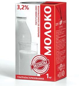 Молоко ТВА Эконом 3,2% 1л /12шт econom