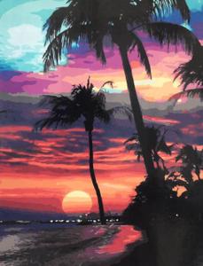 "Картина по номерам на холсте 40х50 ""Пальмы на закате"""