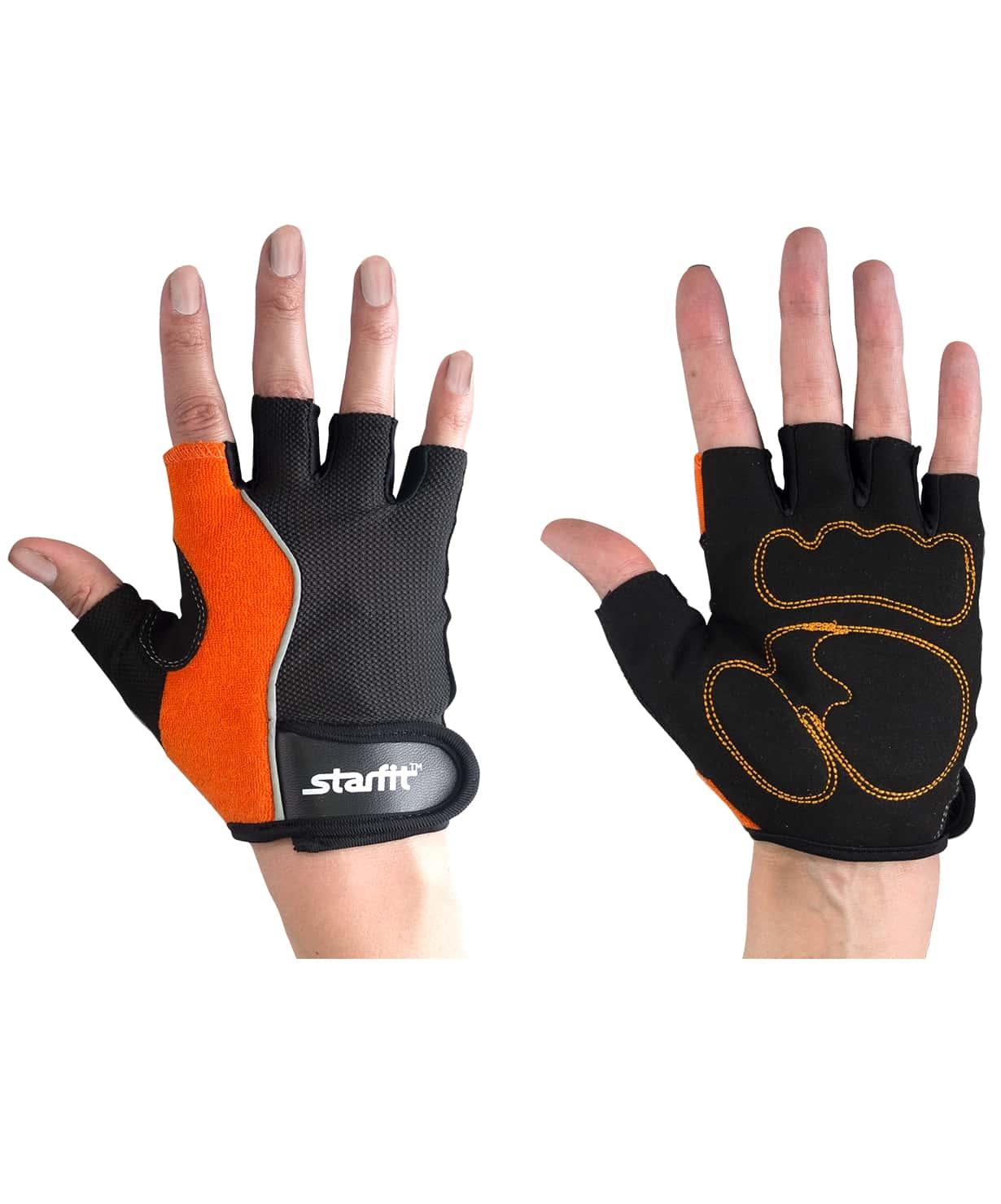 Перчатки для фитнеса SU-108, оранжевые/черные