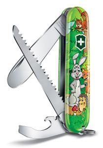 Нож перочинный Victorinox My First Victorinox Rabbit Edition (0.2373.E2) 84мм 9функц. зеленый/рисунок карт.коробка