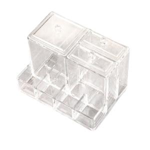 Органайзер для маникюрных/косметических принадлежностей, с крышкой, 7 секций, 10,5 × 14,1 см, цвет прозрачный