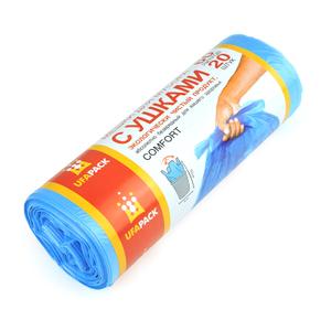 Мешки для мусора с ушками 60л/20шт голубые UfaPack