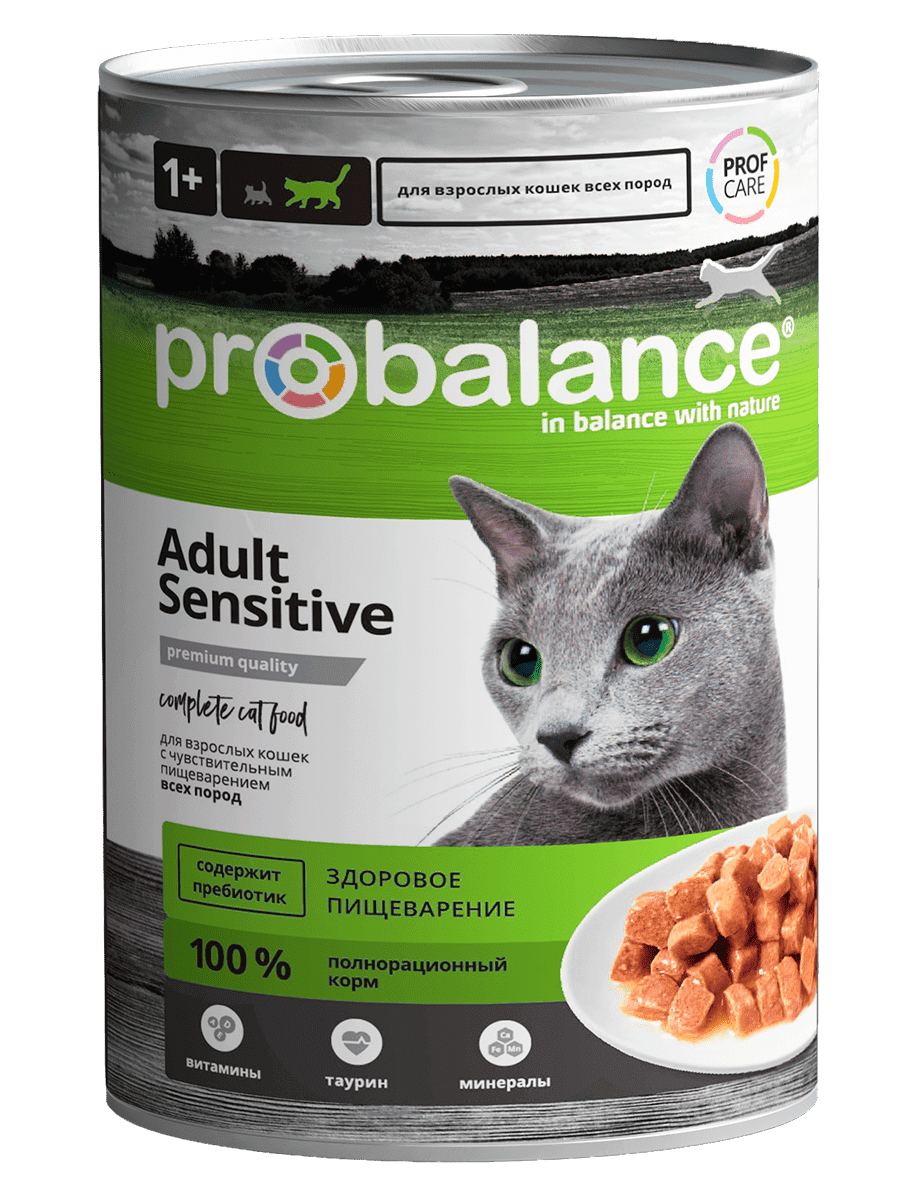 Консервированный корм для кошек Probalance Sensitive, чувствительное пищеварение, 415 г/ 12 штук