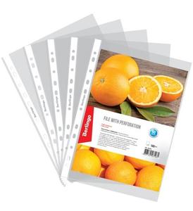 """Папка-вкладыш с перфорацией (файлы) Berlingo """"Апельсиновая корка"""", А4, 60мкм, матовая"""