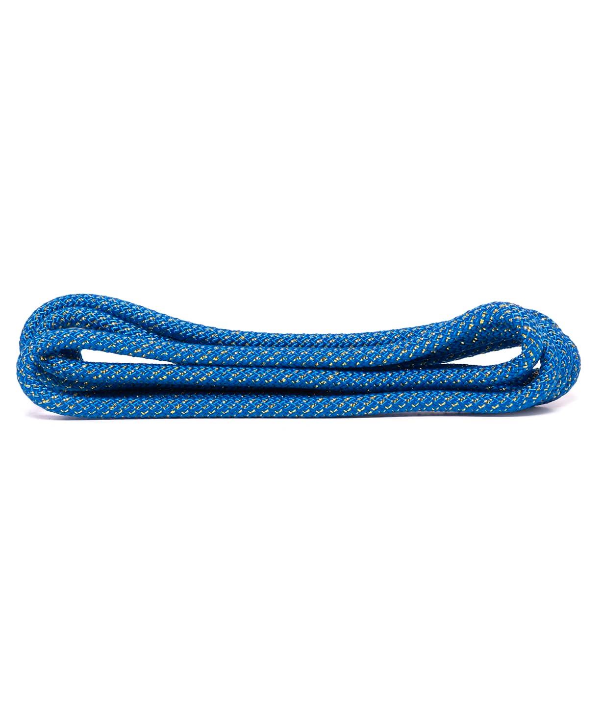 Скакалка для художественной гимнастики RGJ-403, 3м, синий/золотой, с люрексом