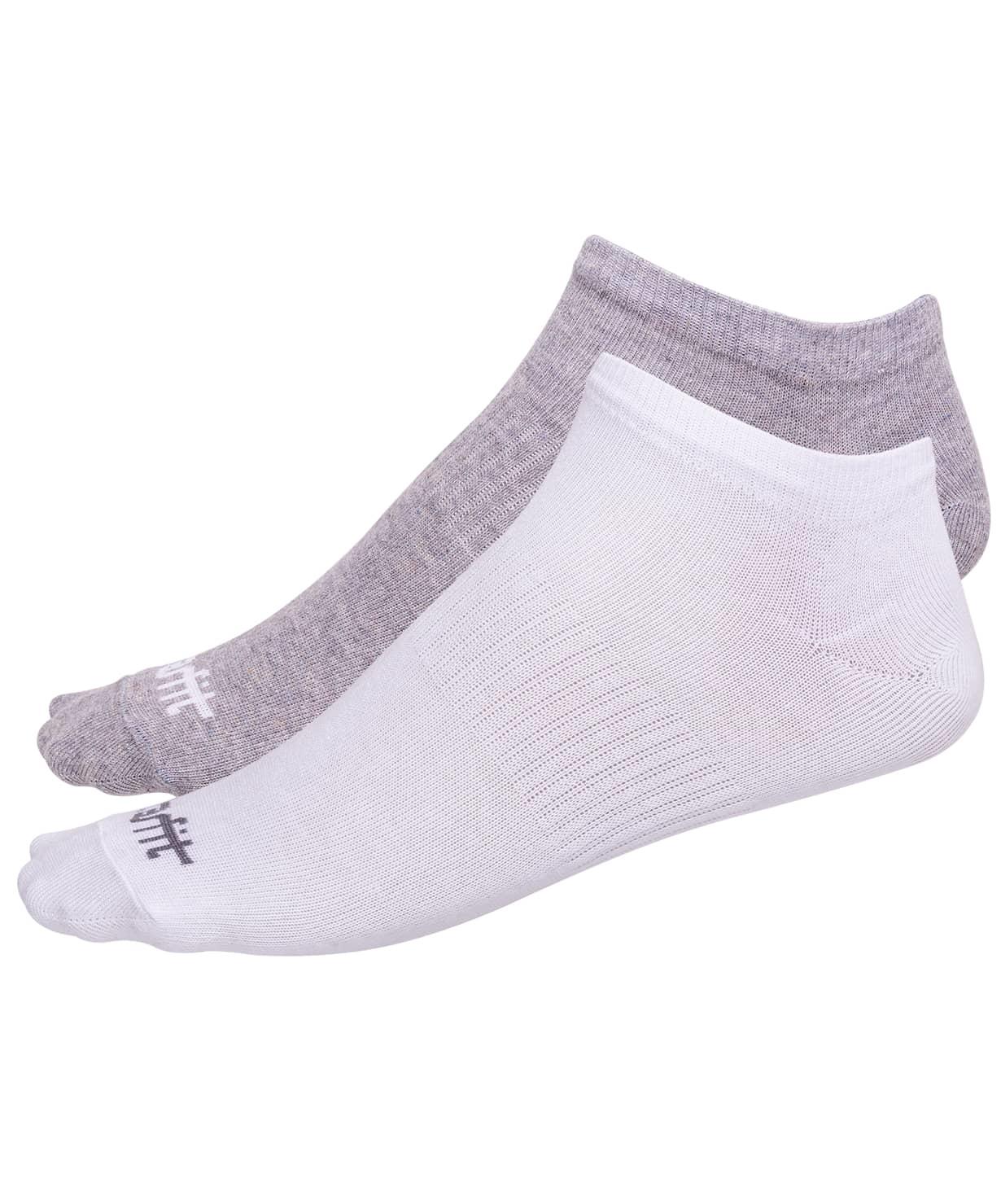 Носки низкие SW-205, белый/светло-серый меланж, 2 пары