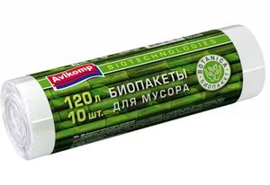 Мешки для мусора биоразлагаемые  Avikomp 120л/10шт белые