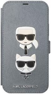 Чехол книжка Lagerfeld для Apple iPhone 12 Pro Max серебристый