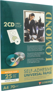 LOMOND 2101013 (A4, 25 листов, 70 г/м2, для CD) бумага универсальная самоклеящаяся  2части