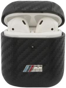 Чехол BMW M-collection carbon with metal logo для AirPods, черный