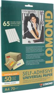 LOMOND 2100215-70 (A4, 50 листов, 65 частей, 70 г / м2) бумага универсальная самоклеящаяся, белая