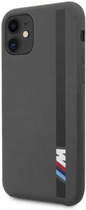 Чехол BMW для iPhone 11 M-Collection Liquid silicone Vert stripe Hard Dark grey