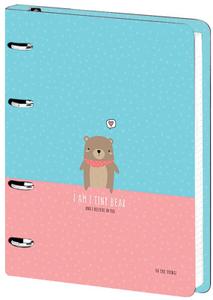 "Тетрадь на кольцах А5, 120л., MESHU ""Tiny bear"", картон,  мат. лам., выборочный УФ-лак"