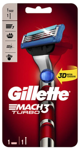 Бритва с 1 сменной кассетой Red MACH3 Turbo GILLETTE