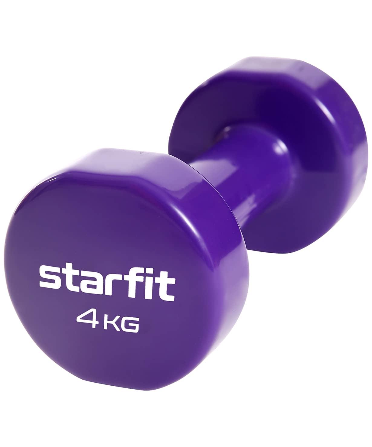 Гантель виниловая Core DB-101, 4 кг, фиолетовый