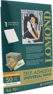 LOMOND 2100005 (A4, 50 листов, 1 часть, 70 г / м2) бумага универсальная самоклеящаяся, белая