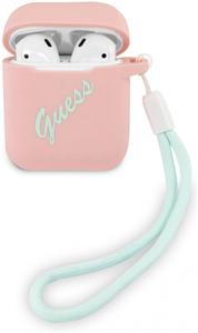 Чехол Guess Silicone case Script logo with cord для Airpods, розовый/зеленый