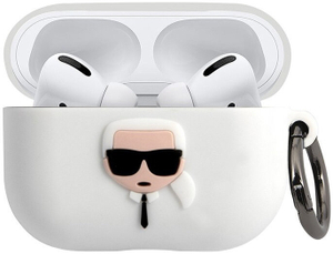 Чехол Lagerfeld для Airpods Pro Silicone case with ring Karl White