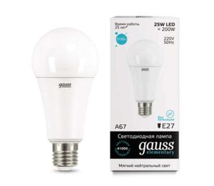 Лампа Gauss LED Elementary A67 25W E27 4100K 1/10/50