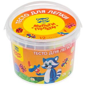 """Тесто для лепки Мульти-Пульти """"Енот в деревне"""", 12 цветов*30г, пластиковое ведро"""