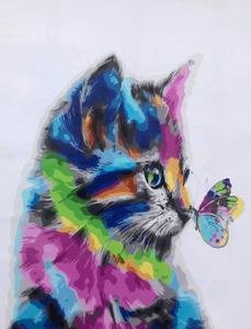 "Картина по номерам на холсте 40х50 ""Котенок и бабочка"""