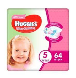 Подгузники Ultra Comfort для девочек 5 (12-22 кг) 64 шт Huggies