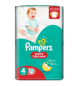 Подгузники-трусики Pants Maxi (9-14 кг) Упаковка 52 PAMPERS