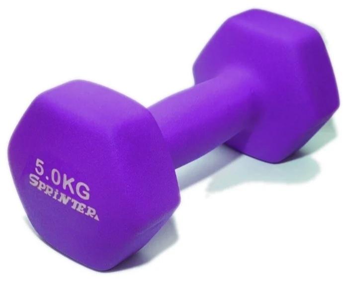 Гантель GO DO в виниловой матовой (неопреновой) оболочке. Вес 5 кг. (Фиолетовый)