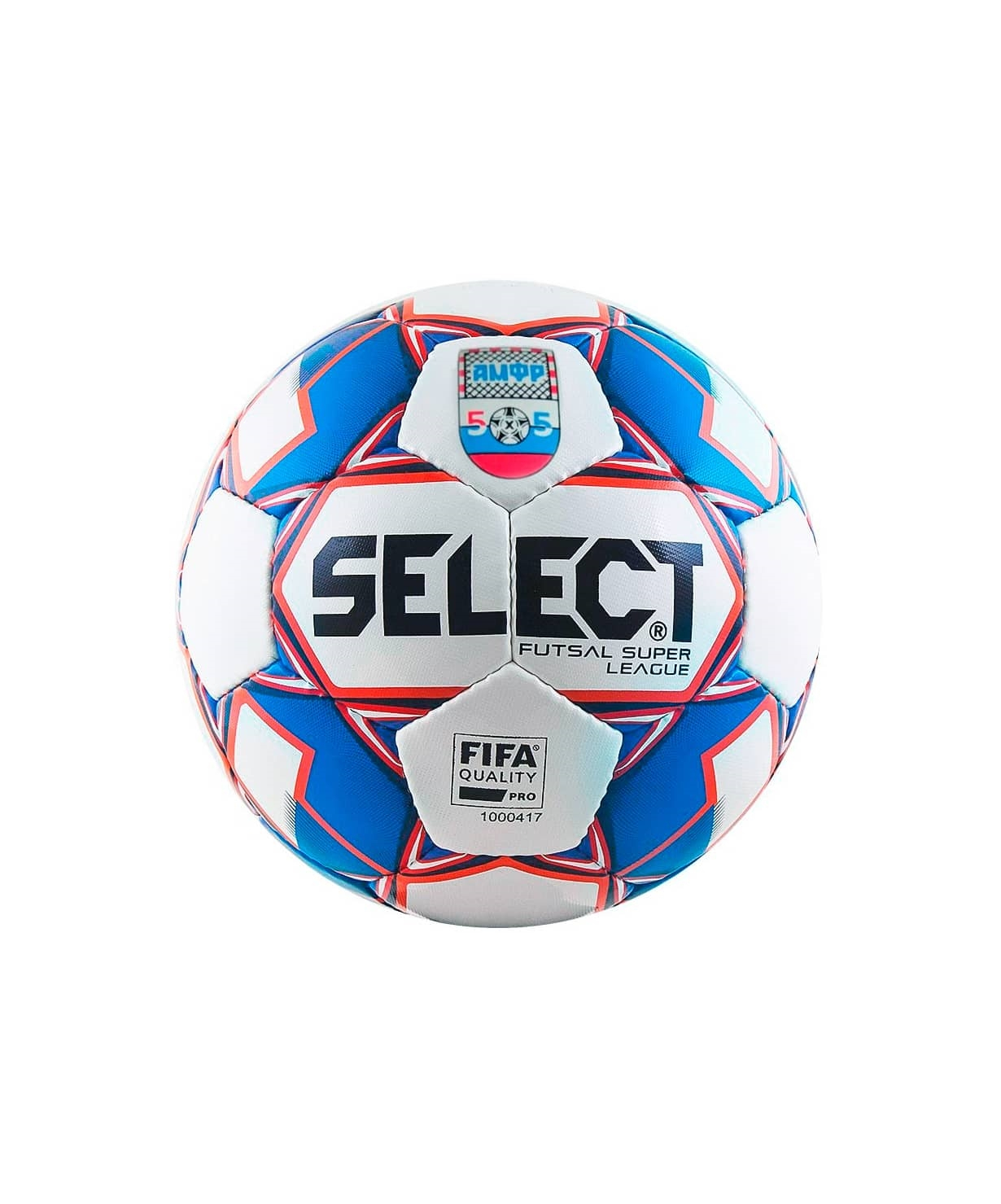 Мяч футзальный SUPER LEAGUE АМФР FIFA №4, бел/син/крас