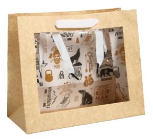 Пакет крафтовый с пластиковым окном Man, 24 х 20 х 11см