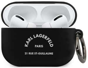 Чехол Lagerfeld для Airpods Pro Silicone case with ring RSG logo Black
