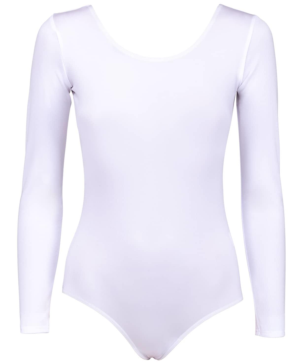 Купальник гимнастический AA-142, с длинным рукавом, полиамид, белый (28-34)